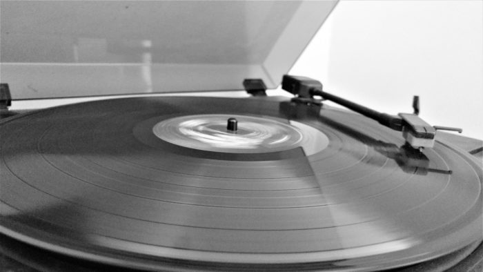 a St. Paul record spins on a home turntable