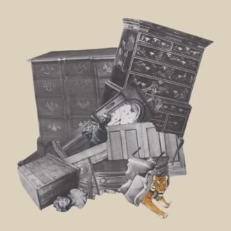 cover at for Trouble, depicting a cluster of old furniture and a tiger